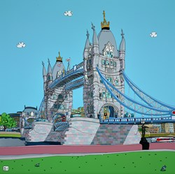 Somewhere Nice, Tower Bridge by Dylan Izaak - Original Painting on Aluminium sized 36x36 inches. Available from Whitewall Galleries